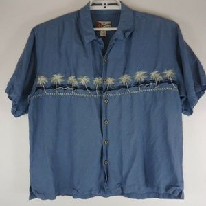 Hilo Hattie Hawaiian Linen Blend Shirt Palm Trees